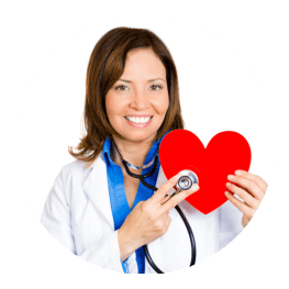 caregiver holding a heart and stethoscope